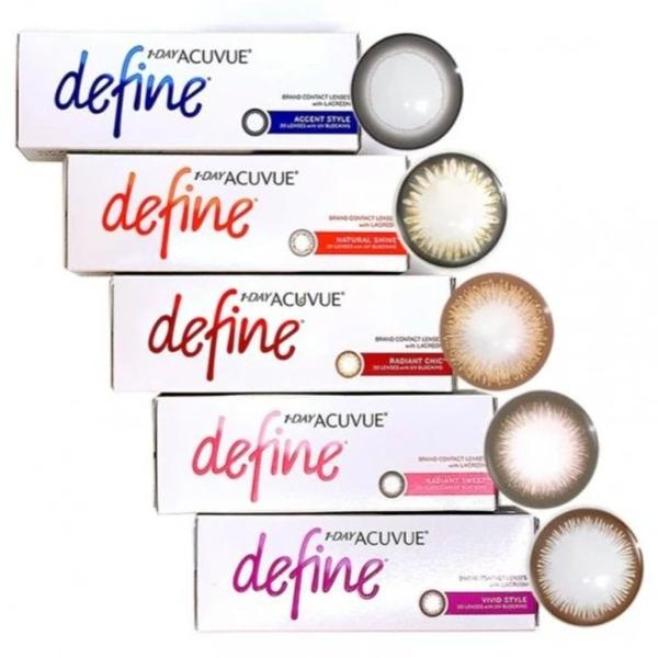 1-Day-Acuvue-Define-Coloured-Contact-Lenses-30pk comes in vivid style, accent style, natural shine, radiant sweet & radiant chic