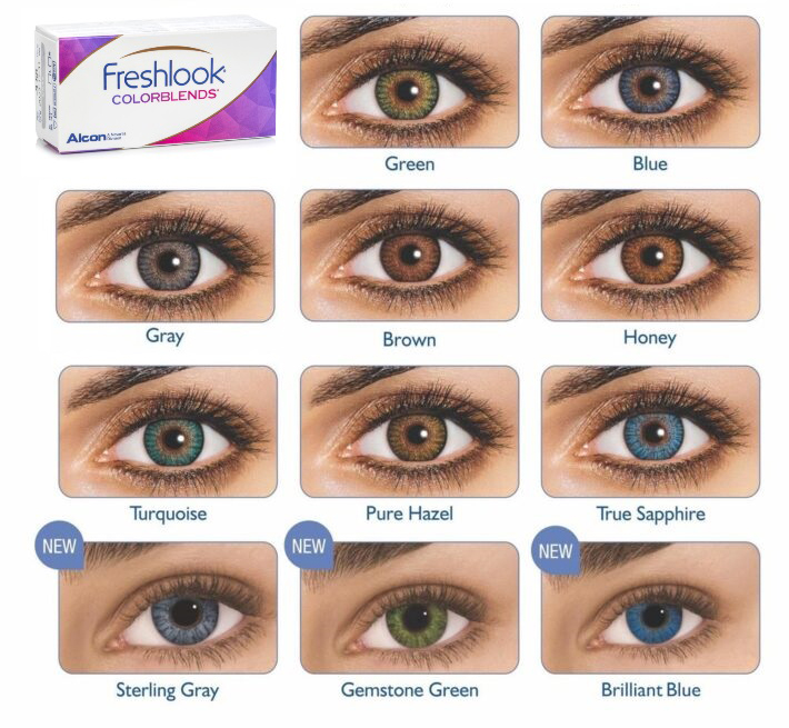 Freshlook-Colourblend colours comes in green, blue, grey, brown, honey, turquoise, pure hazel, true sapphire, sterling grey, gemstone green, brilliant blue